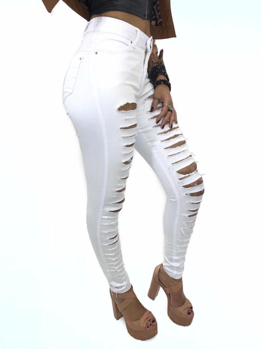 93f268460ba2 calça jeans feminina rasgada da moda branca preta lycra alta. Carregando  zoom.
