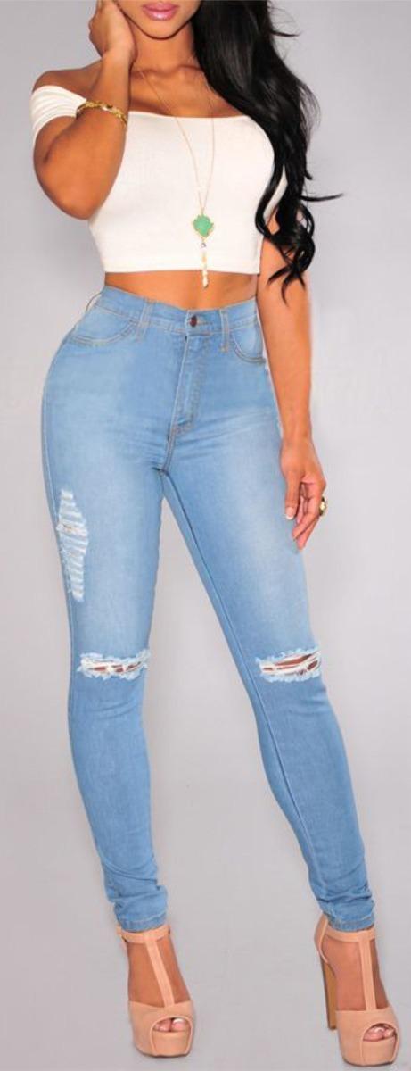 17e5a9211 calça jeans feminina rasgada joelho cintura alta miami dins. Carregando zoom .