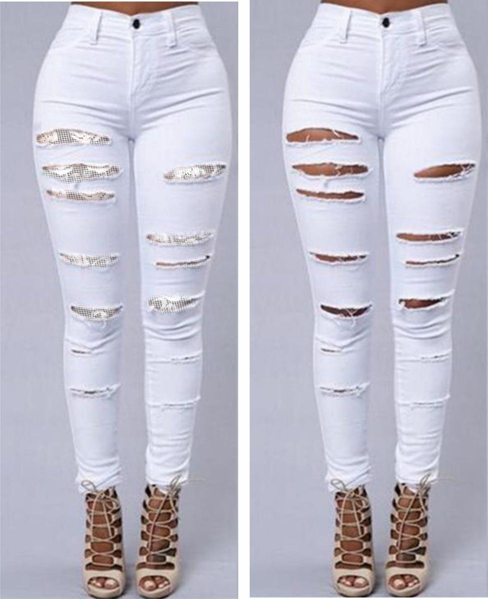 b0dddff66 calça jeans feminina rasgada renda lycra cintura alta dins. Carregando zoom.