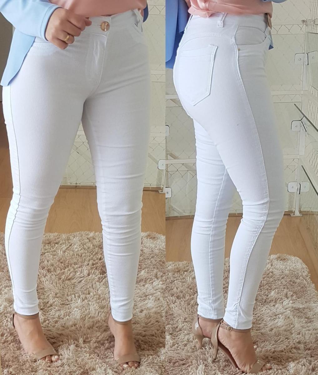 1eca93bb0 calça jeans feminina skinny branca cintura alta lycra. Carregando zoom.