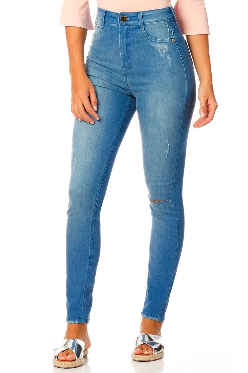 4124429f2 calça jeans feminina skinny cintura alta sobreposto-sp2317. Carregando zoom.