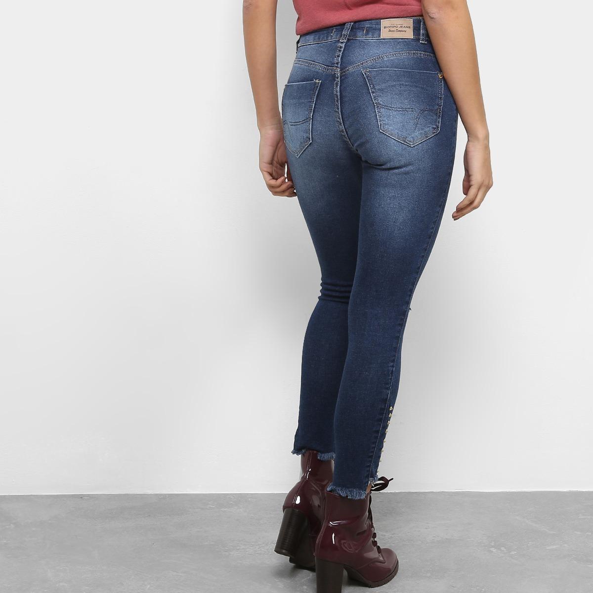99c2d37ef calça jeans feminina skinny destroyed biotipo original. Carregando zoom.
