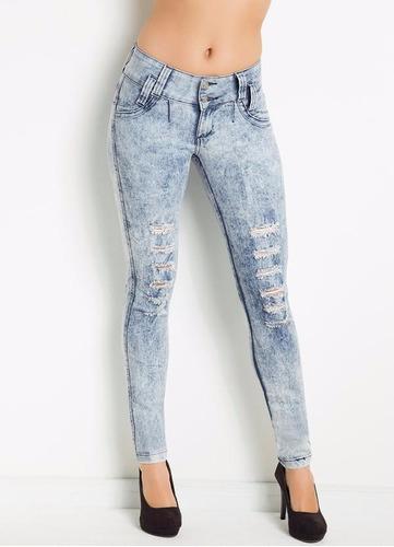 calça jeans feminina skinny destroyed jeans panicat