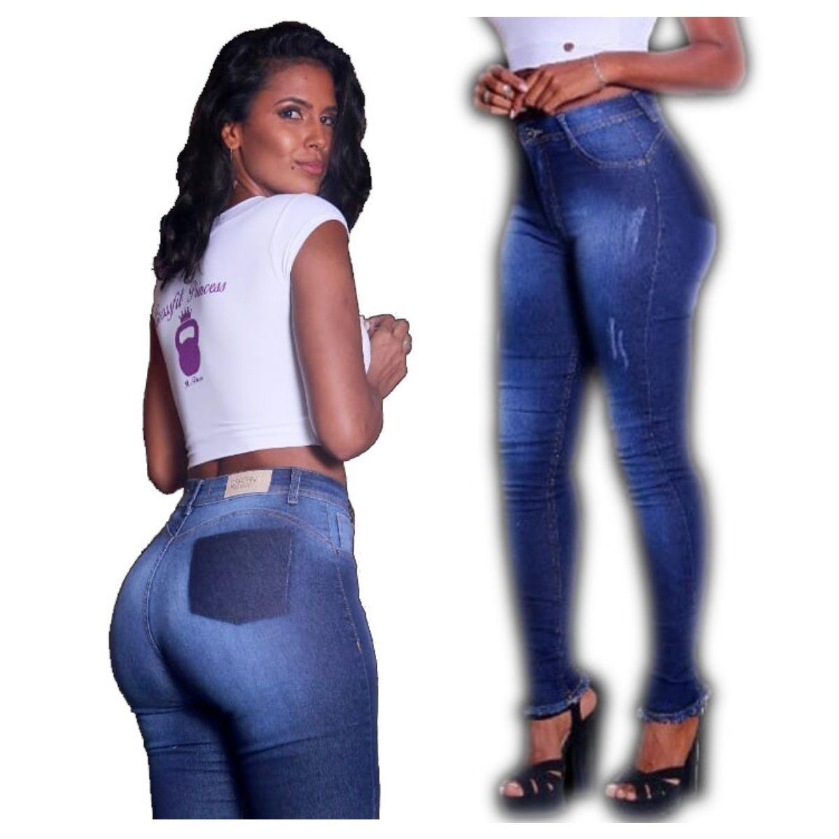 81f5c0bb5 calca jeans feminina skinny detonada cintura alta panicat. Carregando zoom.