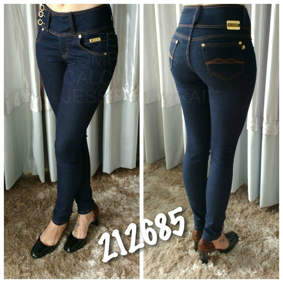 70d7d6a7e6 calça jeans feminina skinny hot pants cós alto. Carregando zoom.