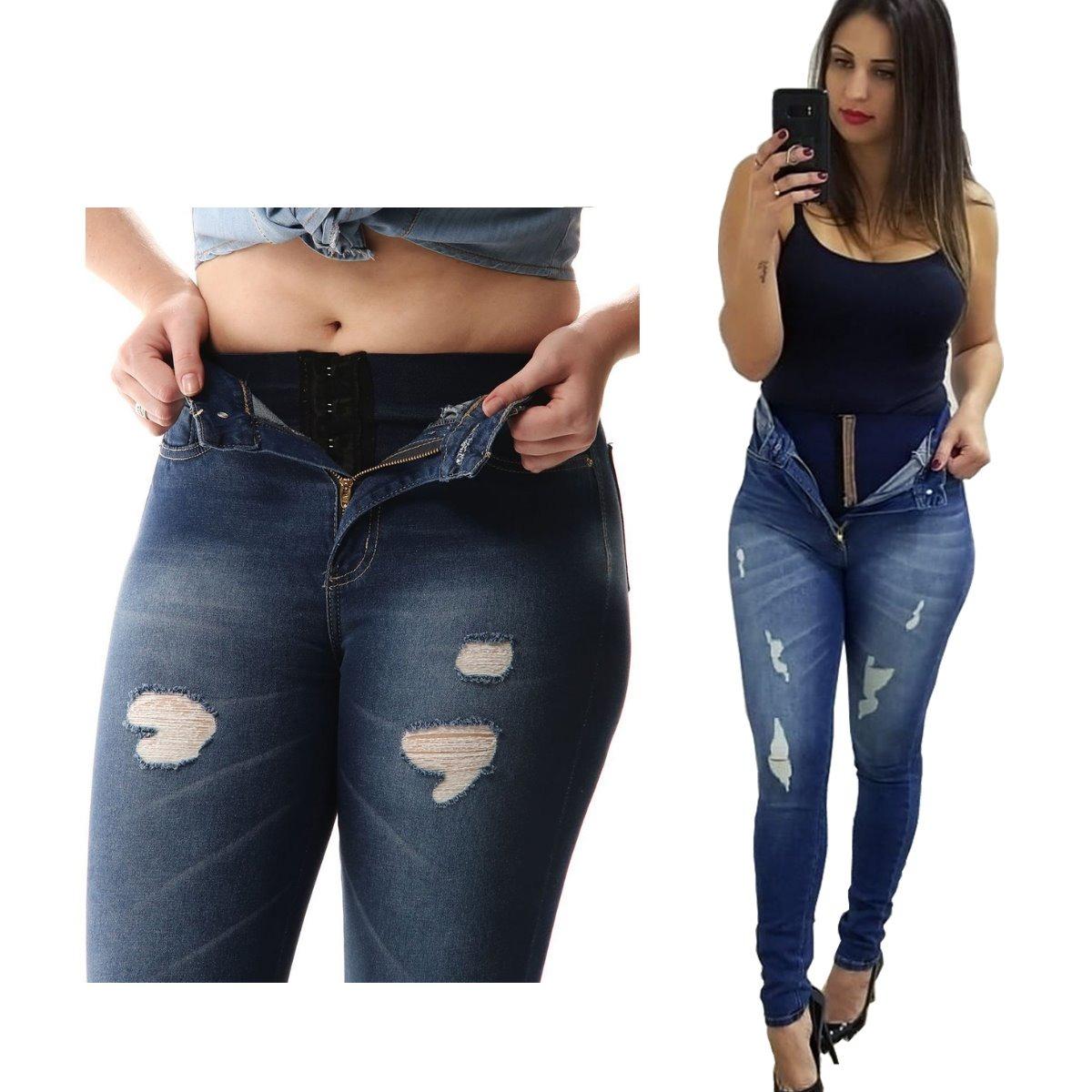 bc90f933c calça jeans feminina super lipo sawary cintura alta. Carregando zoom.