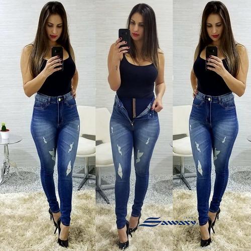 calça jeans feminina super lipo sawary cintura alta