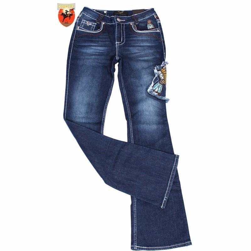 1a720eba103 calça jeans feminina zenz western flare indian - zw0402. Carregando zoom.