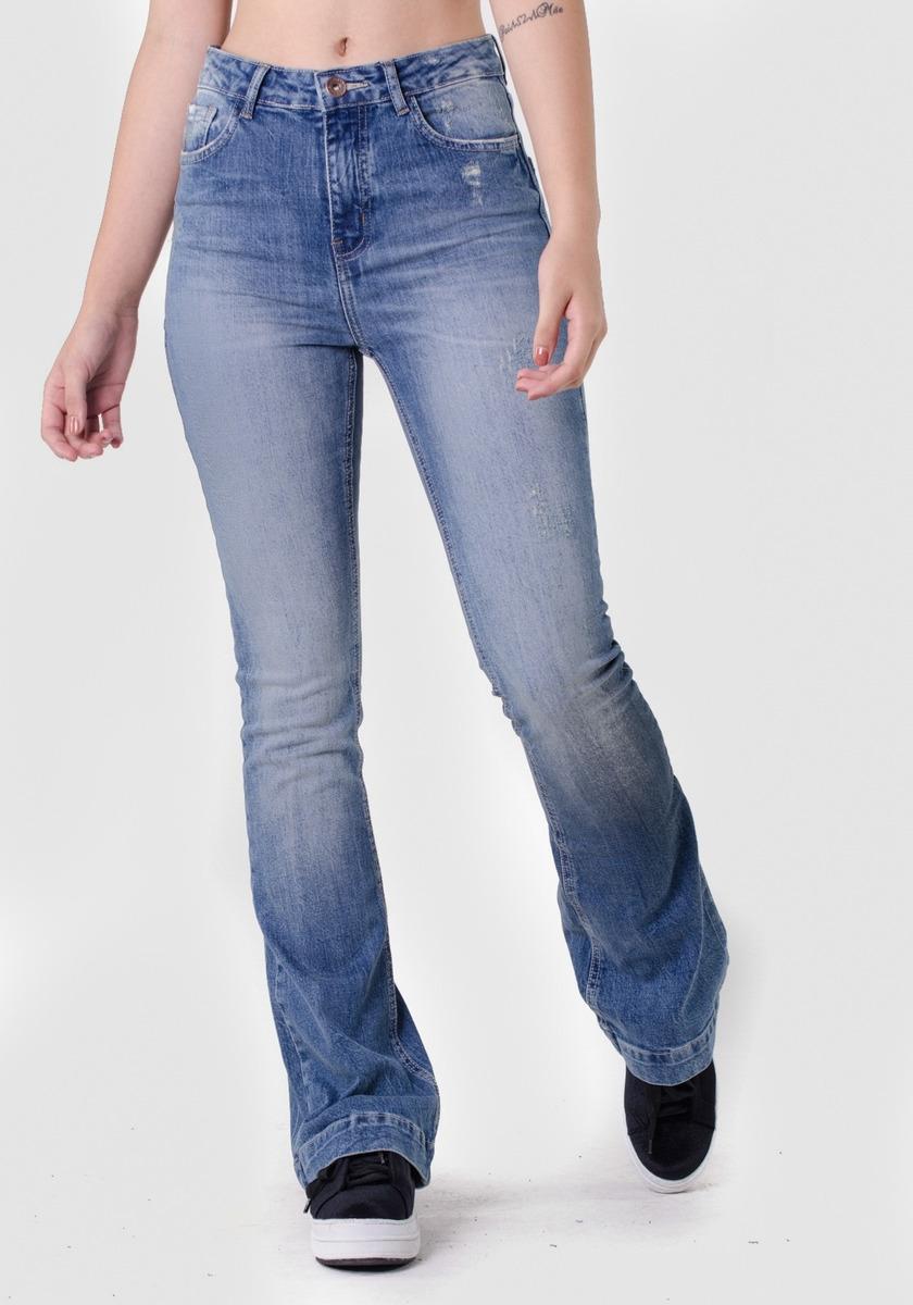 16dbf06fa Calça Jeans Flare Cintura Alta Dirty Puídos - R$ 159,90 em Mercado Livre