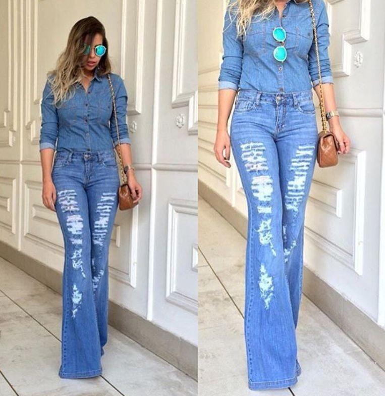 11b7e6ae4 Calça Jeans Flare Destroyed Feminina - R$ 179,90 em Mercado Livre