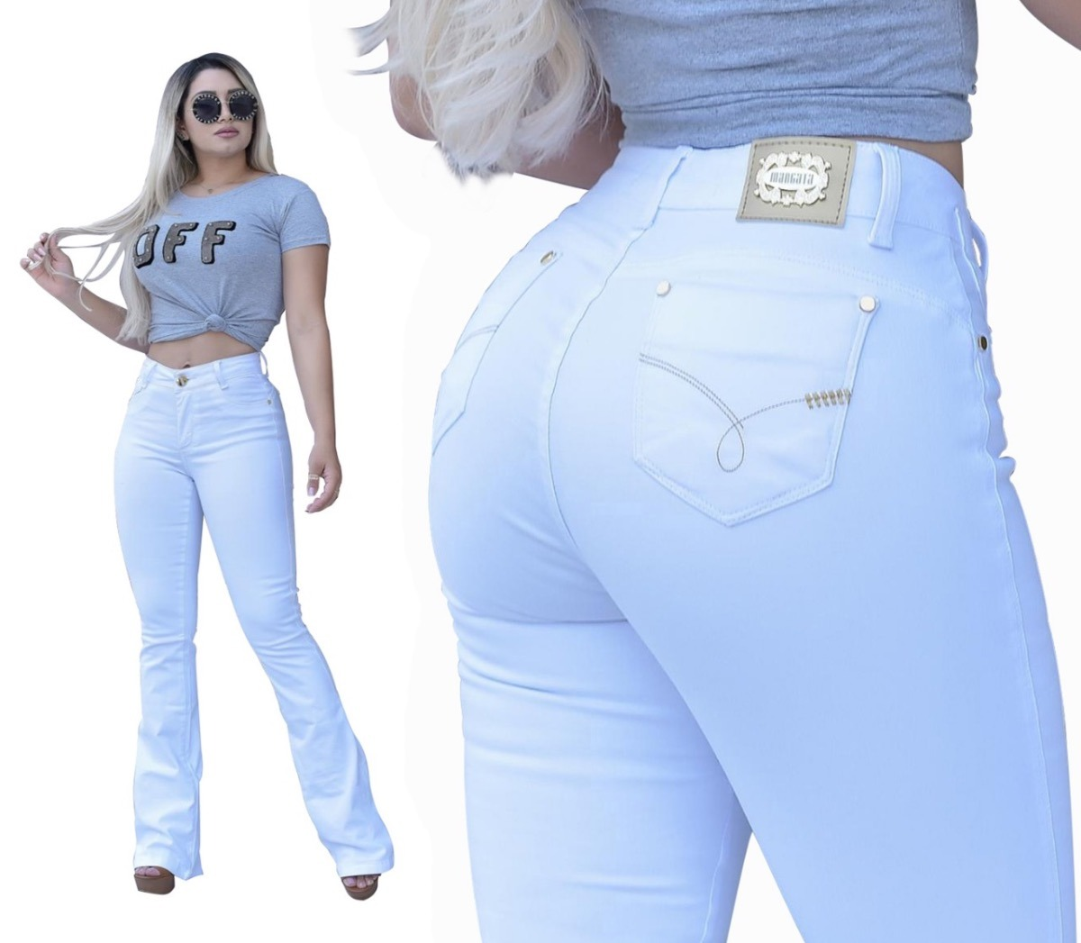 ae45b920ad12c calça jeans flare feminina branca premium estilo pitbull. Carregando zoom.