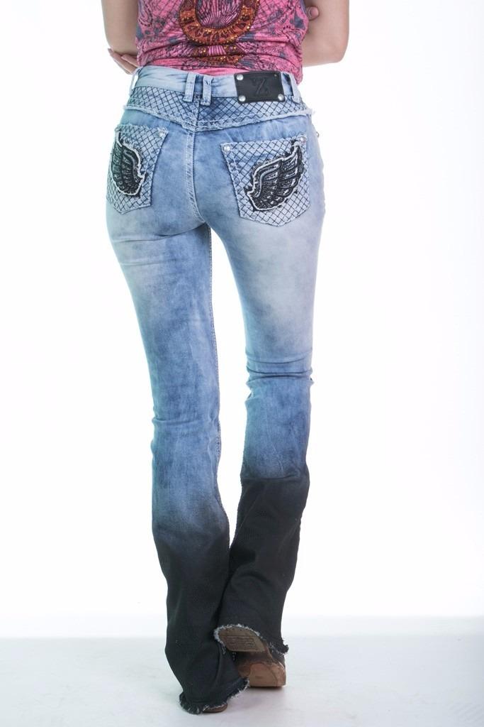 calça jeans flare feminina zenz western angel wings promoção. Carregando  zoom. 19b4bf8b470