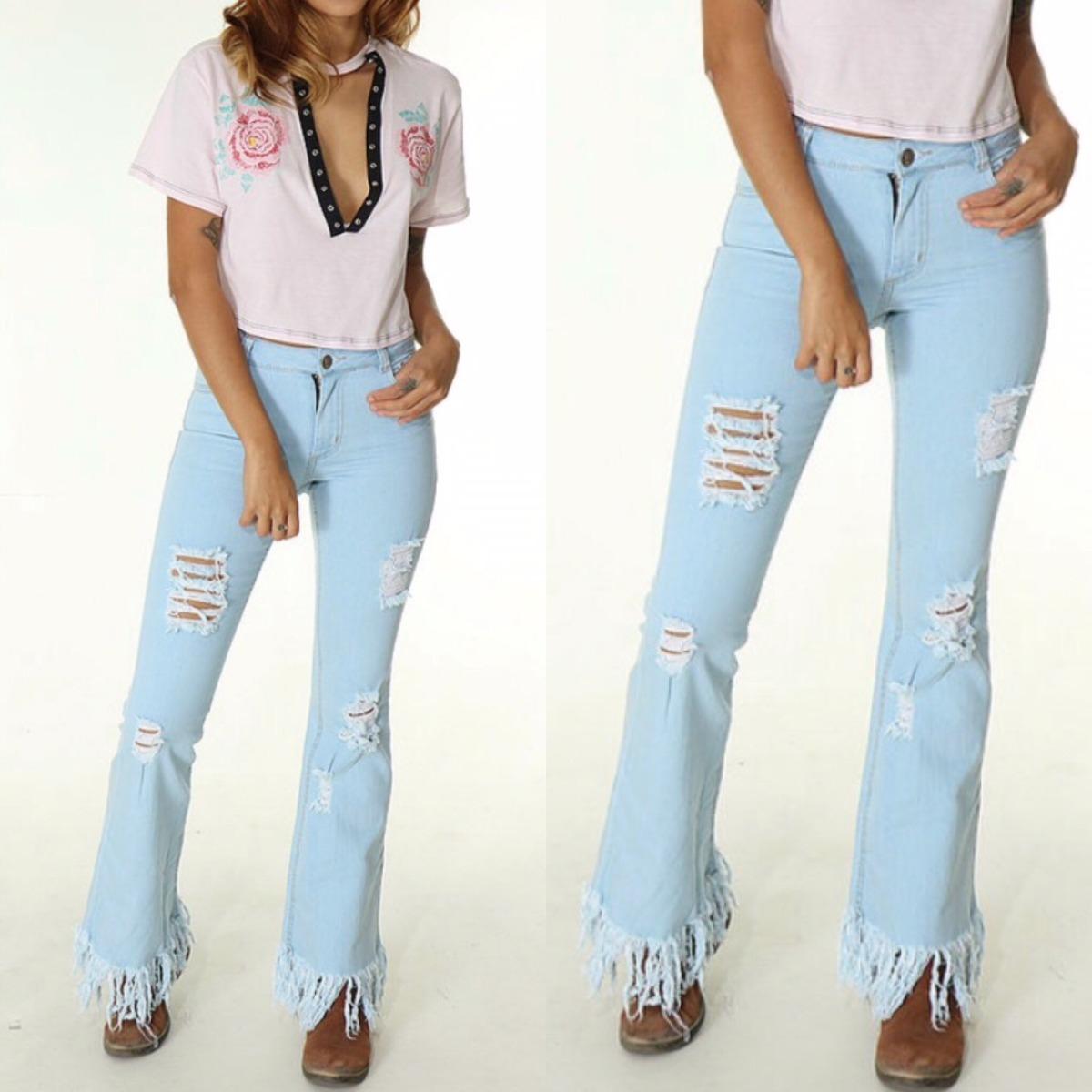 fbc3e7278de calça jeans flare lady rock barra desfiada. Carregando zoom.
