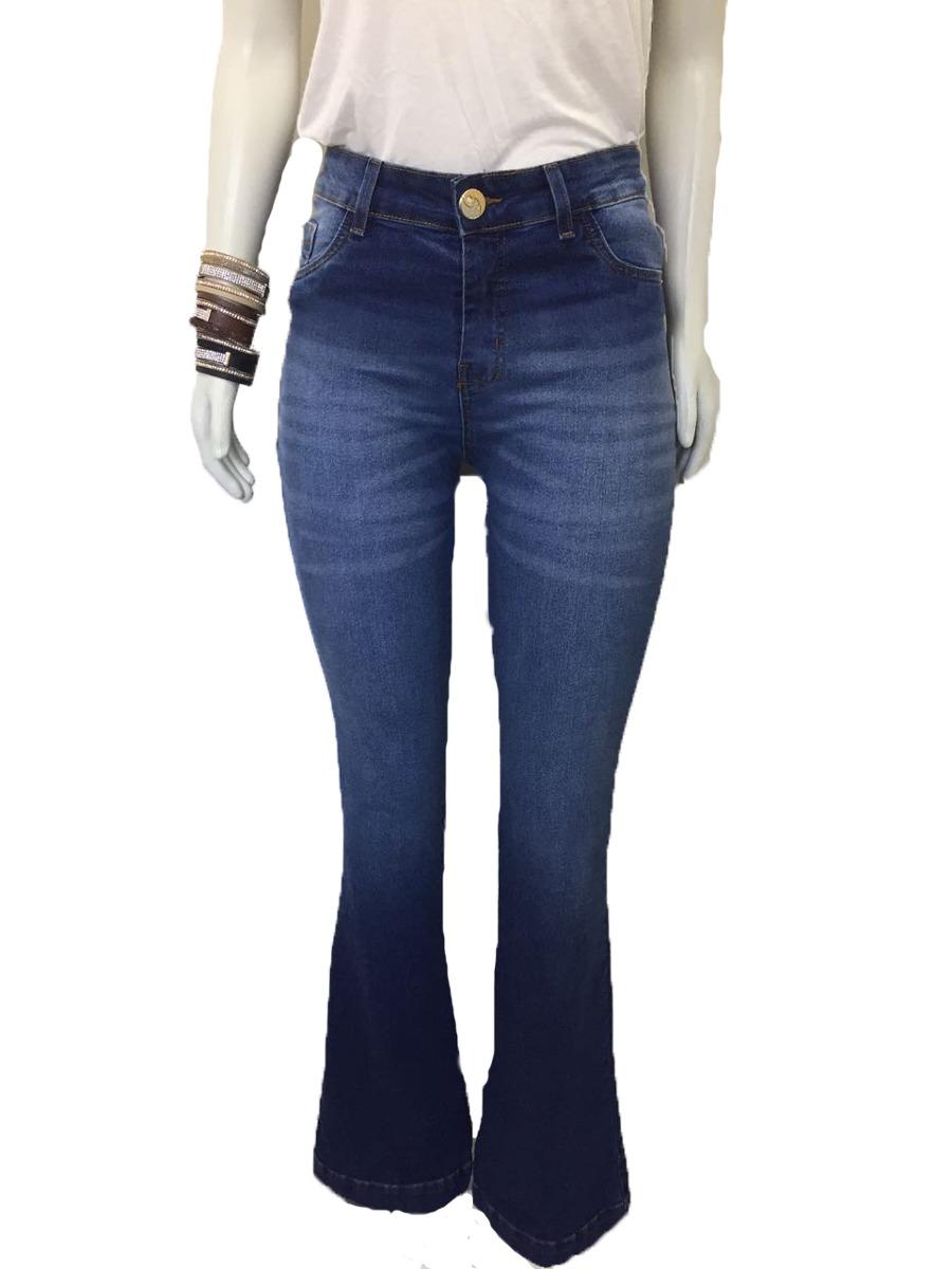 b275fe992 calça jeans flare lycra cintura alta roupas femininas 7424. Carregando zoom.