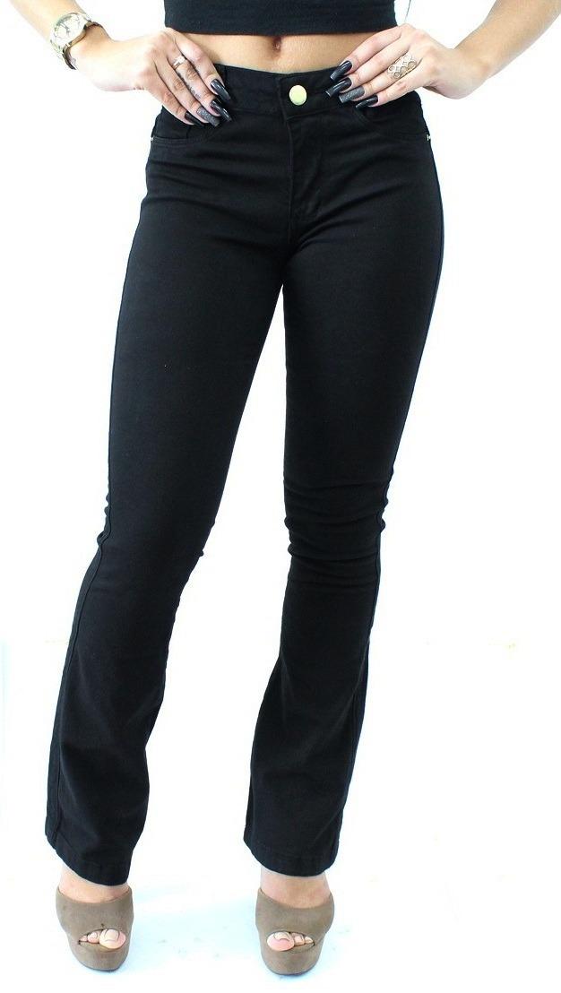 79504f12c calça jeans flare preta feminina cintura alta lycra premium. Carregando  zoom.