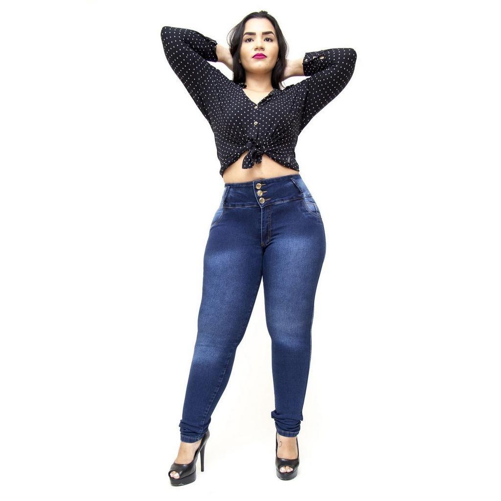 0f43ffd1f calça jeans helix plus size skinny com elástico ozeni azul. Carregando zoom.