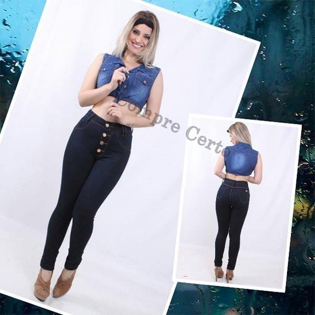 b6b8f0335 Calça Jeans Hot Pants Cintura Alta 4 Botões Lycra Elastano - R  65 ...