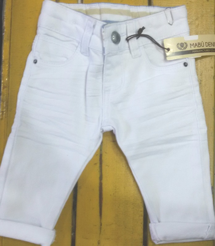 79c5ee2801 Calça Jeans Infantil Bebê Menino Branca 1 Mês Á 18 Meses - R  69