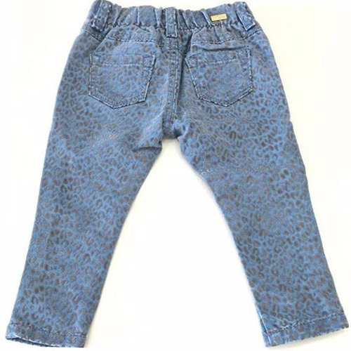 calça jeans infantil feminina com detalhes plush - 9676