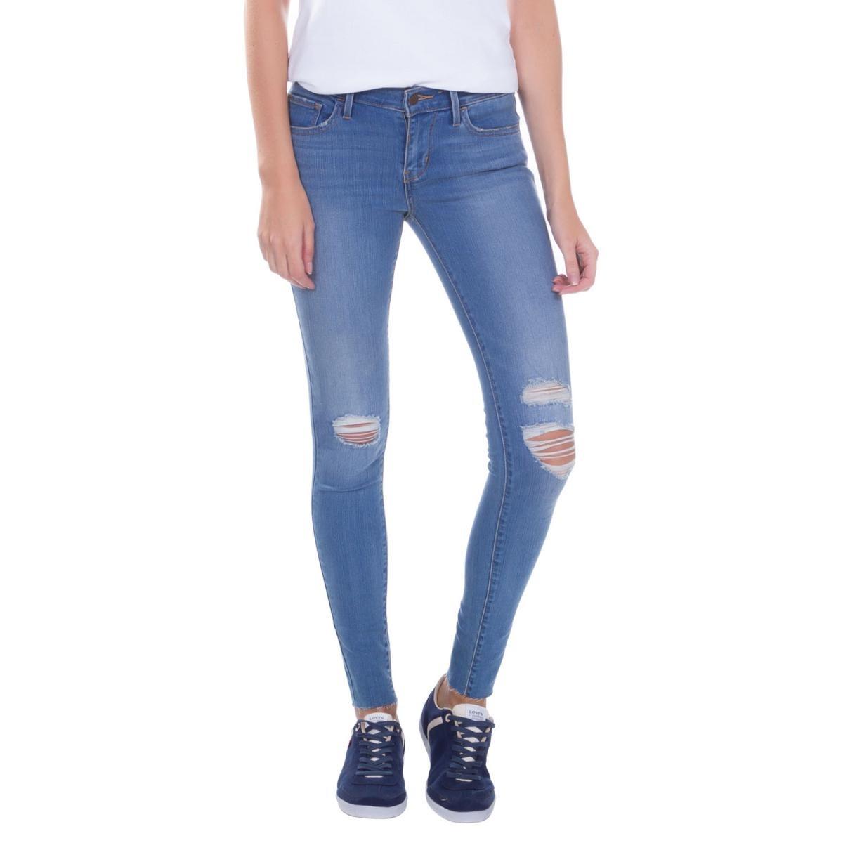 calça jeans levis women 710 super skinny azul destroyed. Carregando zoom. 9c2db182e7f