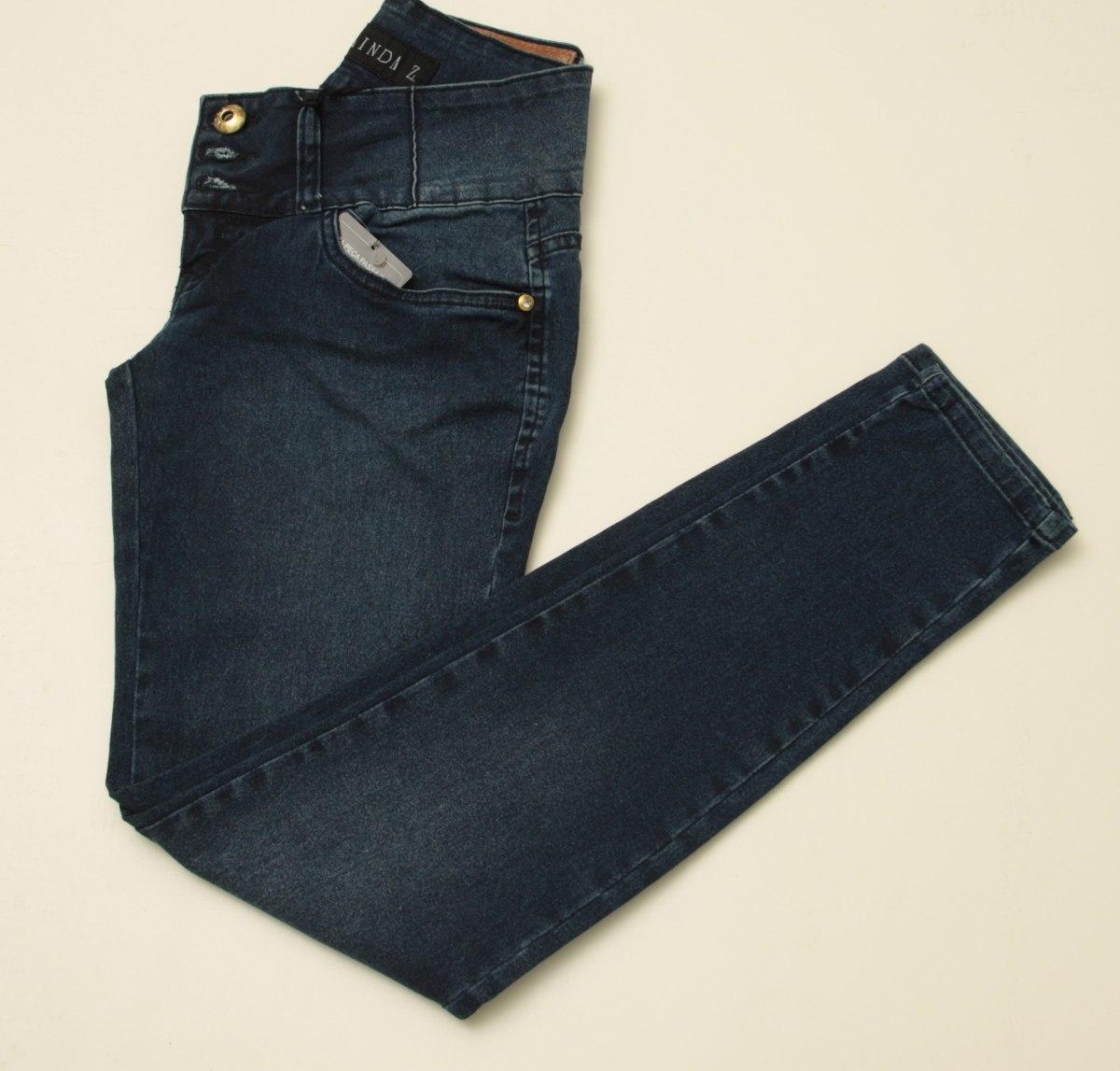 e244a7ab6 Calça Jeans Linda Z Cós Largo 3 Botoes 1 De Strass Strech - R$ 108 ...