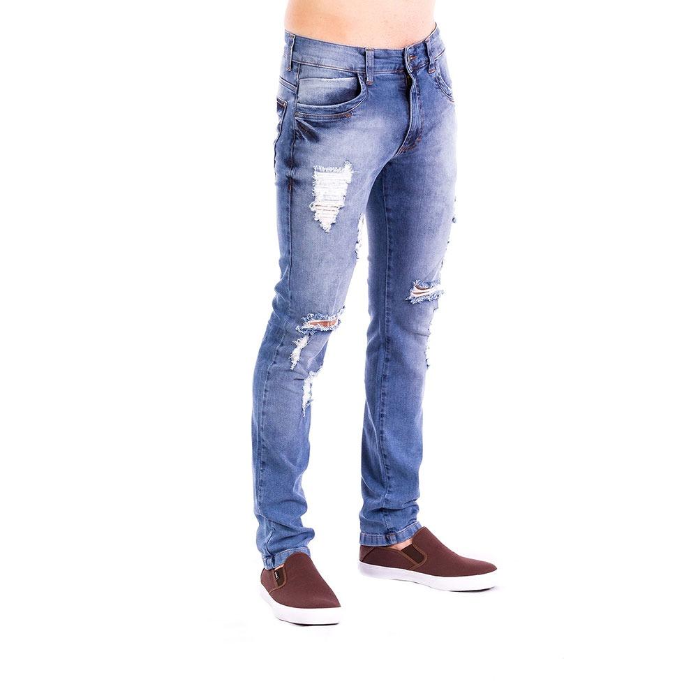 309728813 Calça Jeans Masculina Carlan Skinny Destroyed Azul - R$ 115,90 em ...