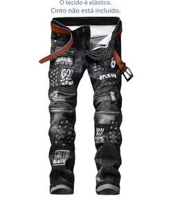 b0076e8f1 Calca Jeans Com Detalhes Paetes - Calças Jeans Masculino no Mercado Livre  Brasil