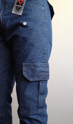 calça jeans masculina modelo cargo, big, direto da fábrica