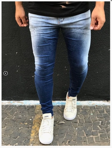 calça jeans masculina premium degrade estonada tintas