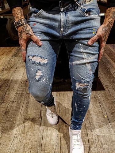 calça jeans masculina premium rasgada tintas destroyed