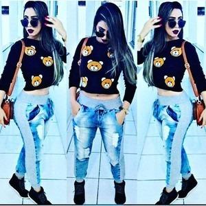 dea9f23d35 Calça Jeans Moletom Sensação 2016 - R  69