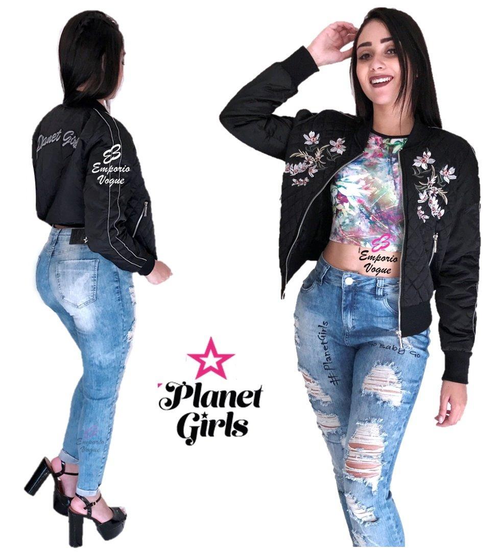 Calça Jeans Rasgada Letreiro Planet Girls - R  179,90 em Mercado Livre 1cda77e216
