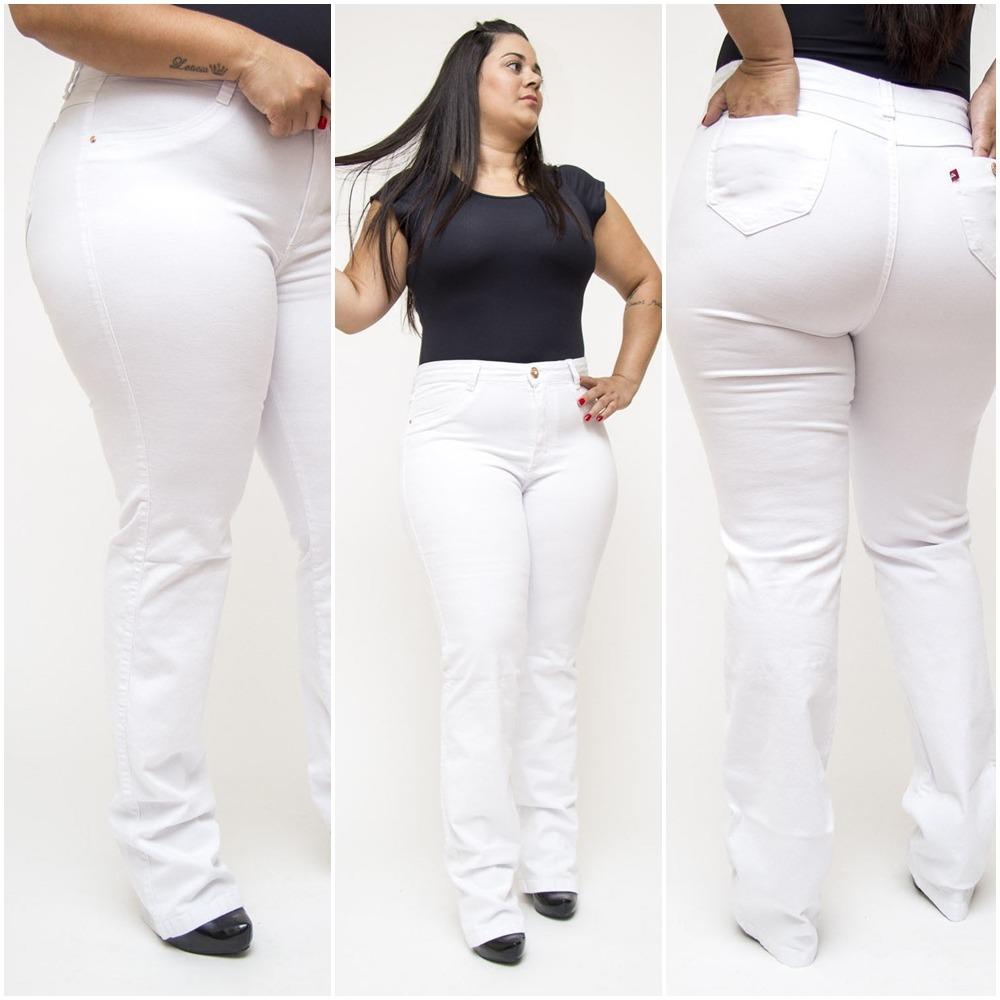 f93fff1dc Calça Jeans Plus Size Branca Feminina Cambos - 13174 - R$ 109,70 em ...