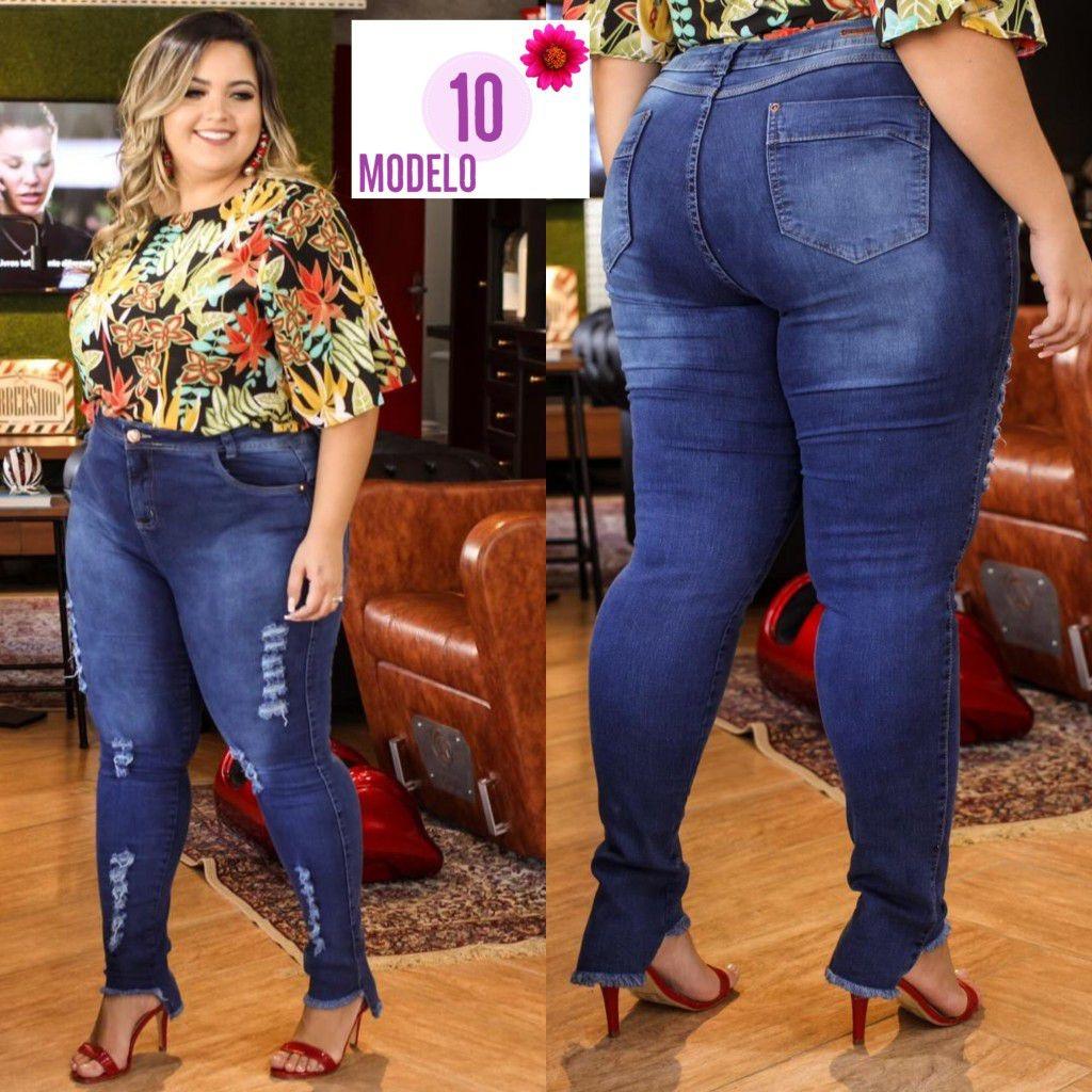fe0902e72 calça jeans plus size cintura alta lycra moda barata ref 10. Carregando zoom .