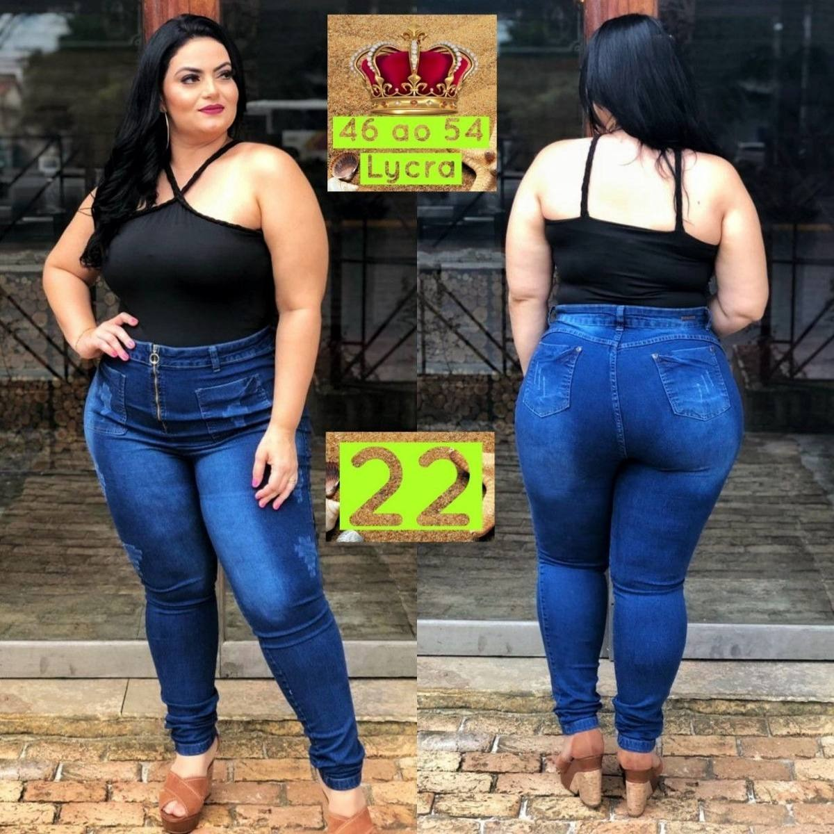 675d99479 calça jeans plus size cintura alta lycra moda gg ref. 7. Carregando zoom.