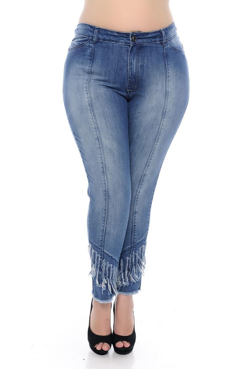 777ae86e7bd Calça Jeans Plus Size Detalhe Barra