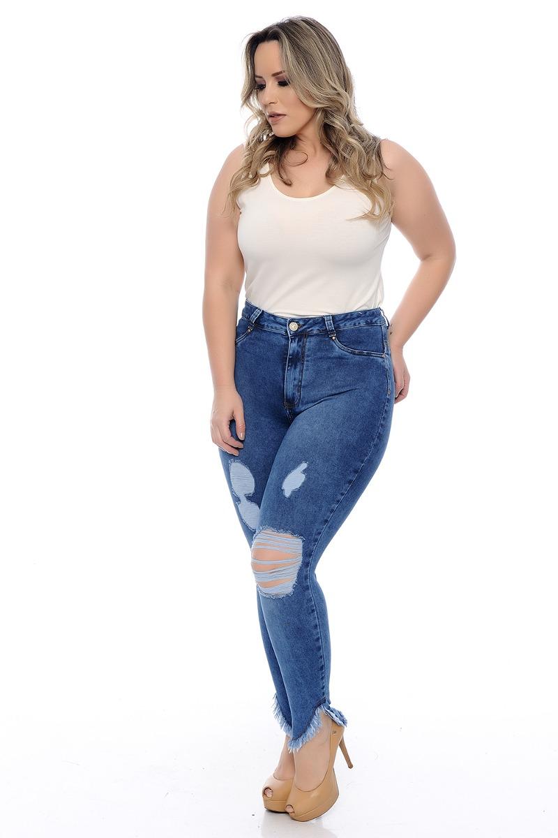 ad670497f Calça Jeans Plus Size Super Skinny Cropped - R$ 176,14 em Mercado Livre