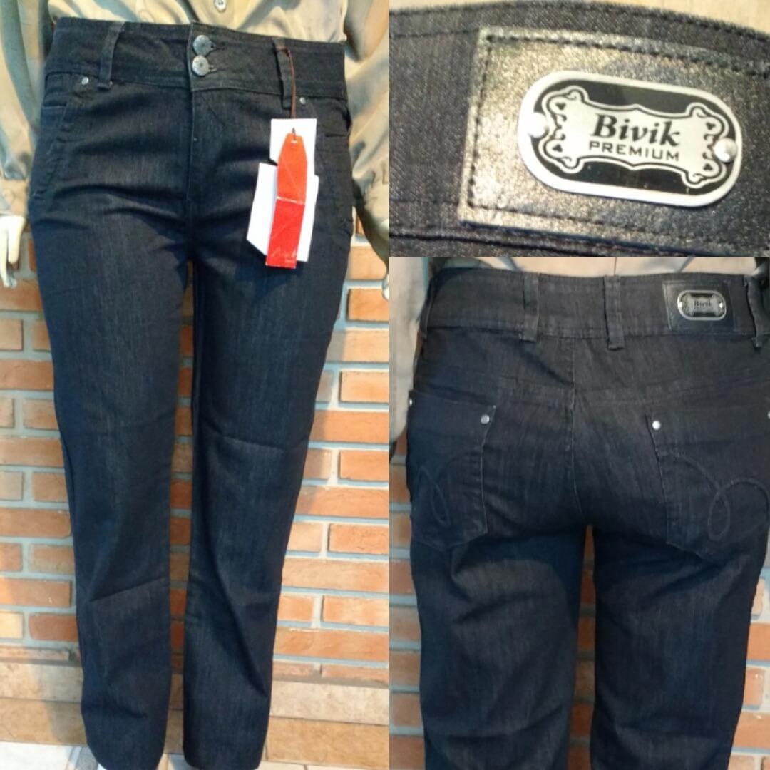 d7718b3c48d141 Calça Jeans Preta Bivik Nova T50 Plus Size Eg Stretch 50x116