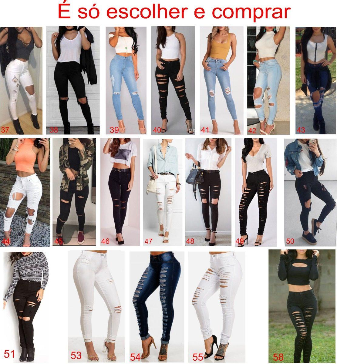 4f13bdc74 Carregando zoom... roupa feminina calça jeans rasgada cintura alta branca  dins