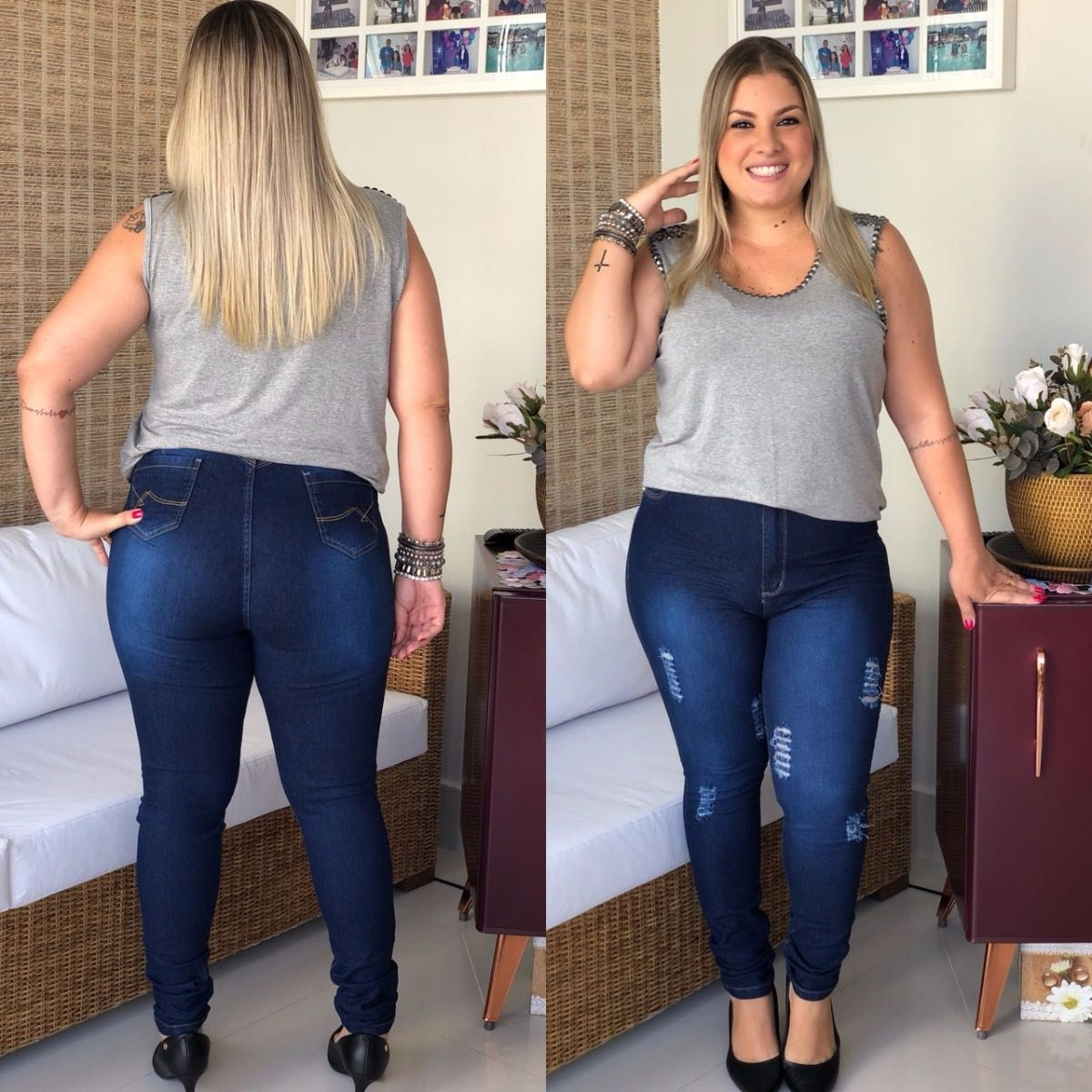 56ae48b3a calça jeans rasgada cintura alta plus size roupas femininas. Carregando zoom .
