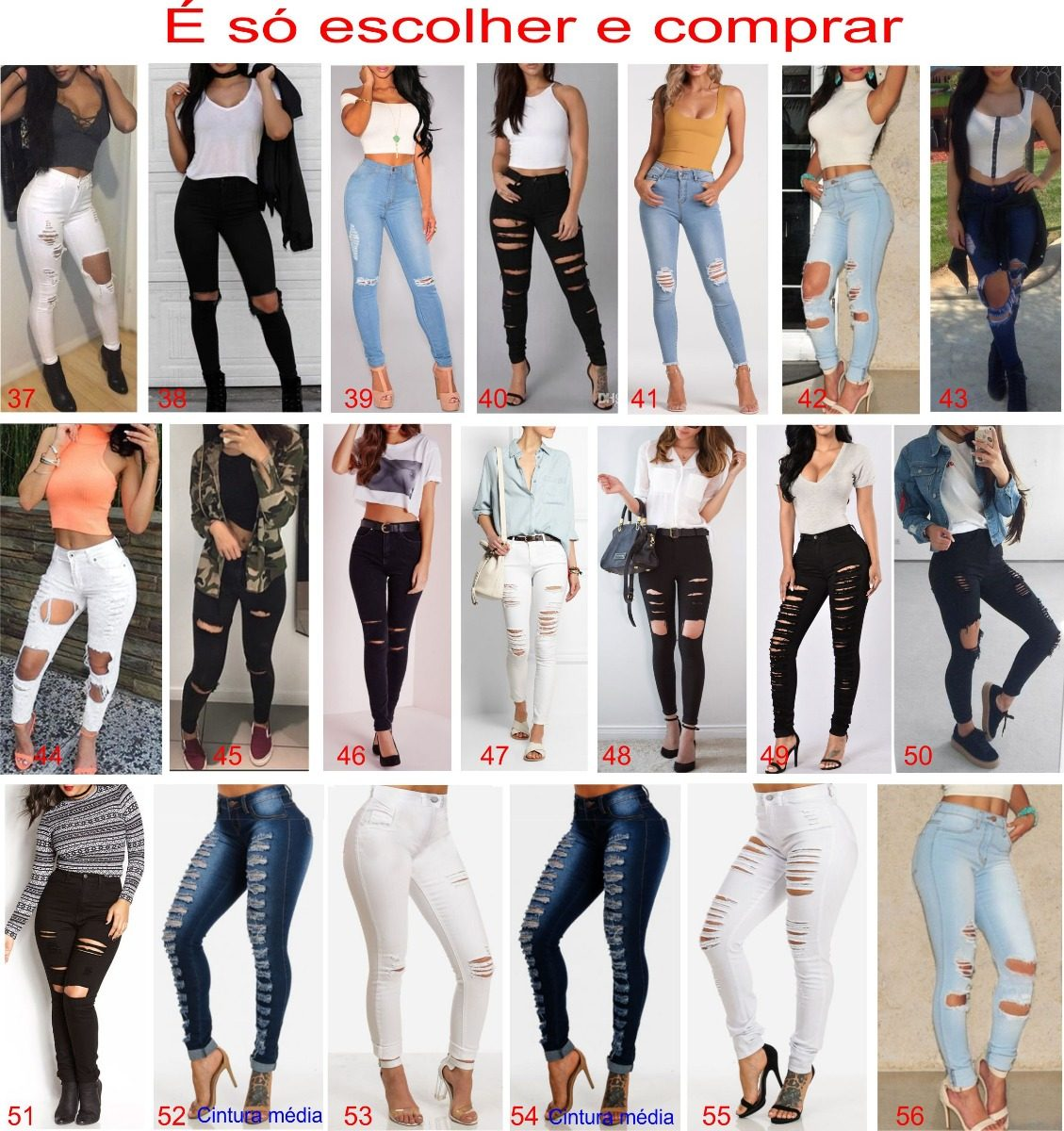 46cf9ab57 Carregando zoom... roupas feminina calça jeans rasgada lycra cintura alta  dins