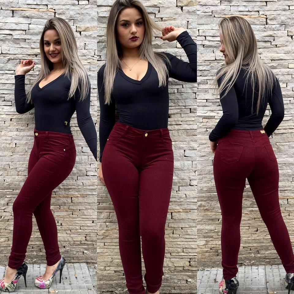 2fce7ba3c calça jeans roupas femininas vinho bordô marsala cós alto. Carregando zoom.