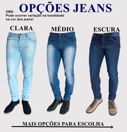 calça jeans sarja masculina 3 peças skinny lycra colorida