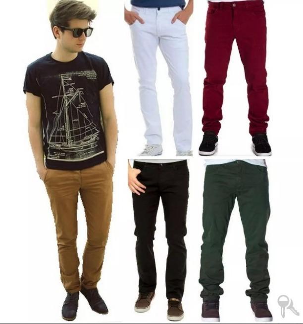 8f72d0065 Calça Jeans Sarja Masculina Homem Jovem Skiny Lycra Slim - R$ 56,70 ...