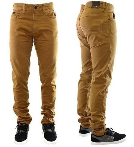 calça jeans sarja masculina slim fit c lycra skinny + cores