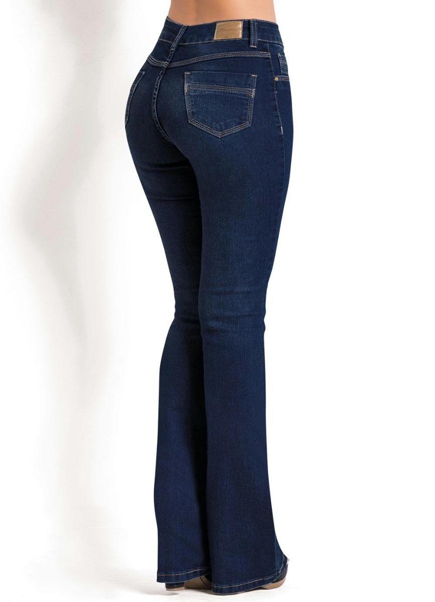 103056838 Calça Flare Jeans Escuro Sawary Com Bolsos - R$ 137,49 em Mercado Livre