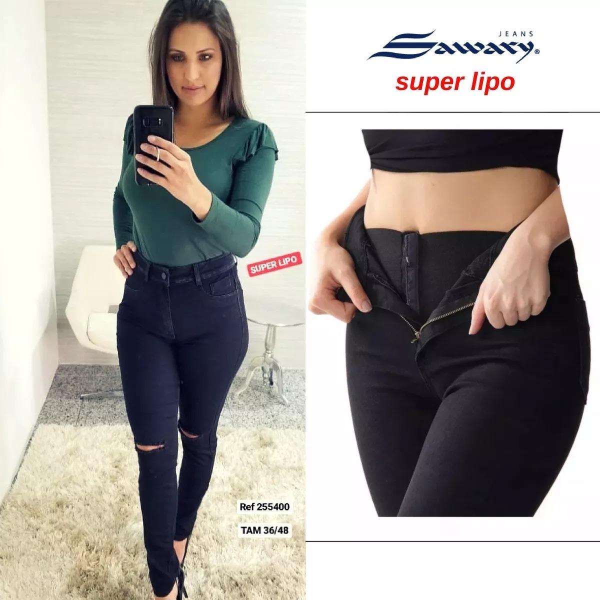 05ea40aea calça jeans sawary legging super lipo preta cintura alta. Carregando zoom.