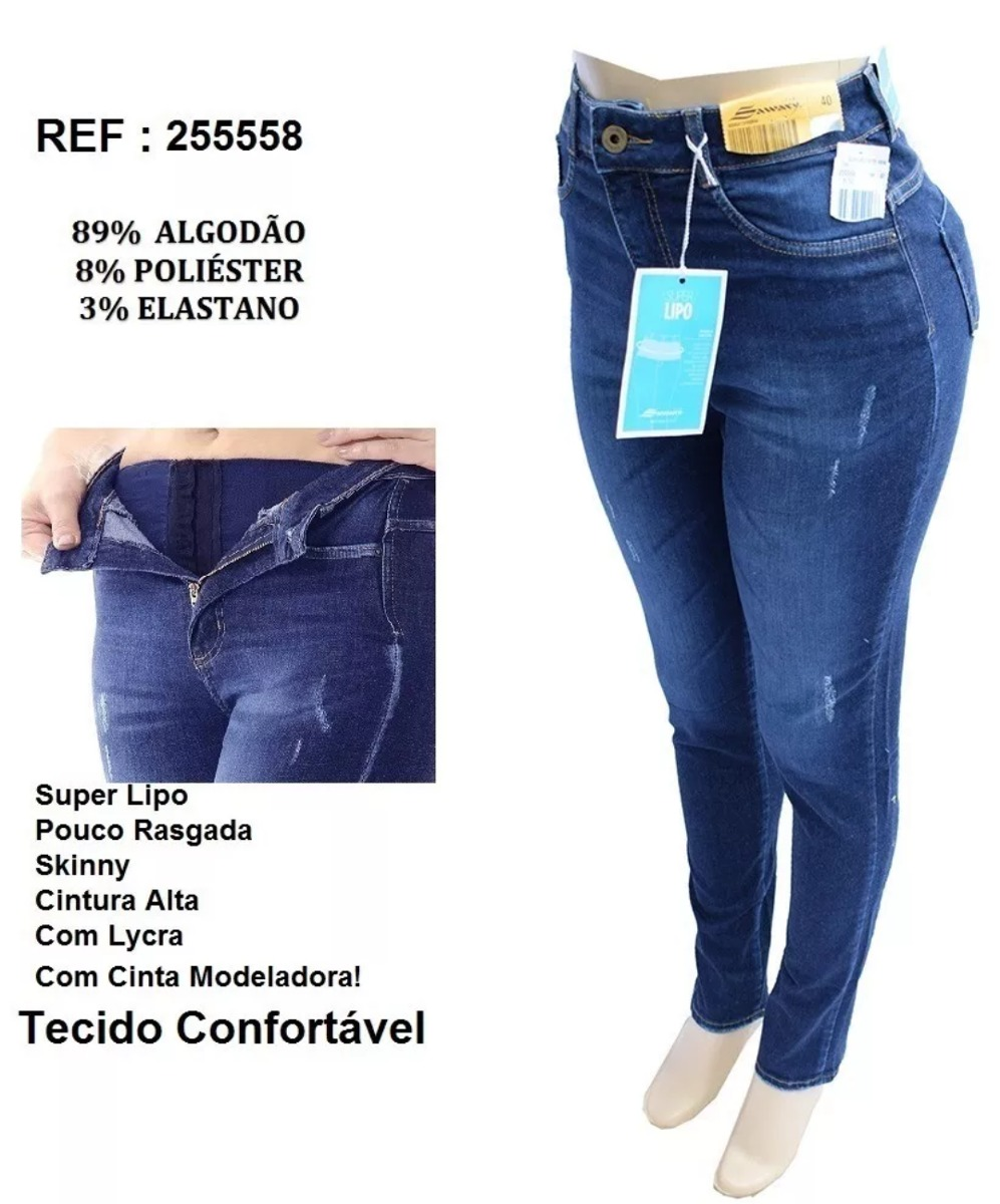 ae013d6fb calça jeans sawary super lipo azul modelo 2018. Carregando zoom.