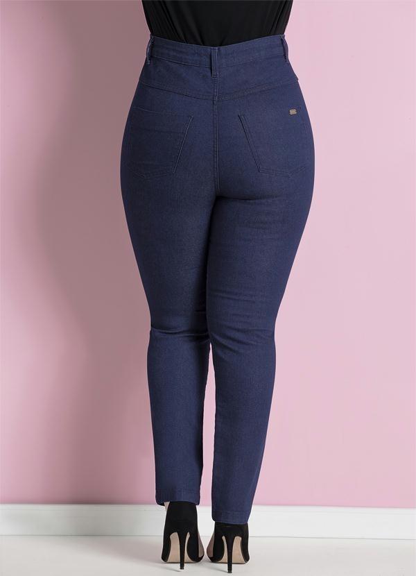 4386d20ca9c0a calça jeans skinny azul cintura alta plus size quintess. Carregando zoom.