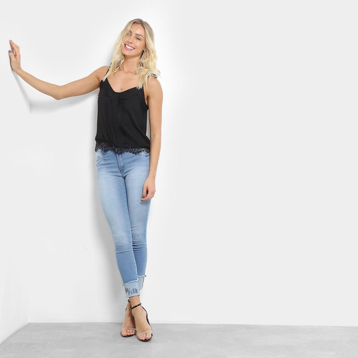 81eff0336 calça jeans skinny biotipo barra dobrada com estampa. Carregando zoom.